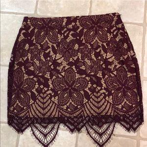 Express Lace Mini Skirt